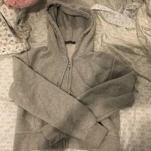 Brandy Melville Grey Crystal Cropped Hoodie